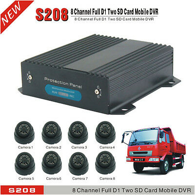 8 CH Channel Dual SD Cards Car DVR & H.264 Real-time Video Recorder DVR Camera