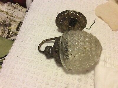Vintage Brass Wall Lamp Sconce Outdoor Light Fixture Rustic Glass Globe w/outlet