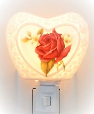 Artisan Hand Crafted Ceramic Rose Night Light Multi Directional - New!