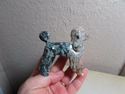 Poodle, Solid stone Hand carved Marble Dog from the Andes, Richly Hued Poodle
