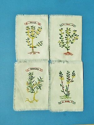 Lot of 4 Vintage Unusual Printed Cocktail Napkins Laurel Rose Holly & Rosemary