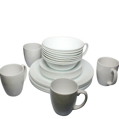 B1 Set of 36 Corelle Frost White Chip Resistant Dinner Set Bowls Cups Plates