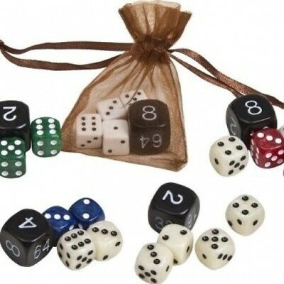Christianos Mother of Pearl Type Dice Set from Greece Saphire/Ivory 1.1cm