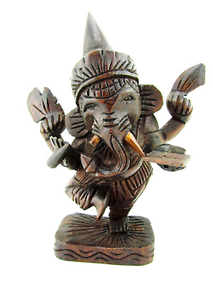 Lord Ganesh Statue Wood Carving Hand Carved Teak Ganesha Hindu God Idol 7""
