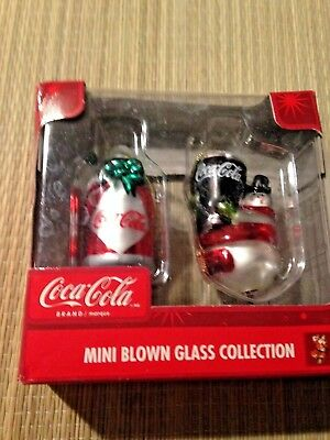 Coca-Cola MINI BLOWN GLASS ORNAMENT SET #B Set of 2 Coke Machine Coca Cola