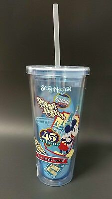 Disney Parks Tumbler With Straw 45th Anniversary Magic Kingdom NEW NWT