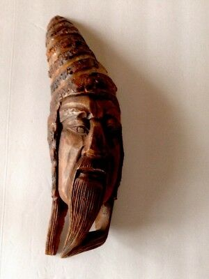 Chinese Vintage Wooden Carved Mask Wall Hanging  Item