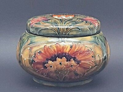 Moorcroft Cornflower Tobacco Jar Humidor & Cover With McGill University's Crest
