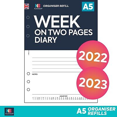 Any year WEEK on TWO PAGES LINED Refill Planner FILOFAX A5 PERSONAL Compatible
