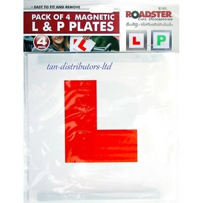 4 x MAGNETIC LEARNER DRIVER PLATE EXTERIOR CAR L & P SECURE SAFE SIGN PLATES NEW
