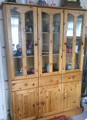 Solid Pine Glass Topped Cabinet with 3 draws H179cm/5ft10inxW128/4ft2inxD34/1ft