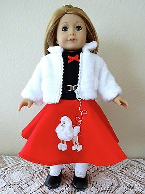 """NEW-DOLL POODLE DOG SKIRT OUTFIT_Lot #121 fit 18""""Doll such as American Girl Doll"""