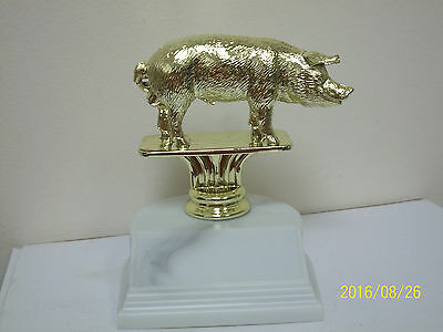 "Swine, HOG pig trophy, award, about 4.25"" high w/ engraving 4H, State Fair, BBQ"