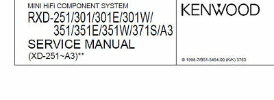 Kenwood Rxd-A3 251 301 301E 351 351E 351W 371S Component Syst Service Manual Eng