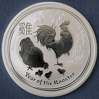 Mint Roll Of 5 2017 Lunar Year Of The Rooster 2 oz 99.9% Silver Bullion Coins