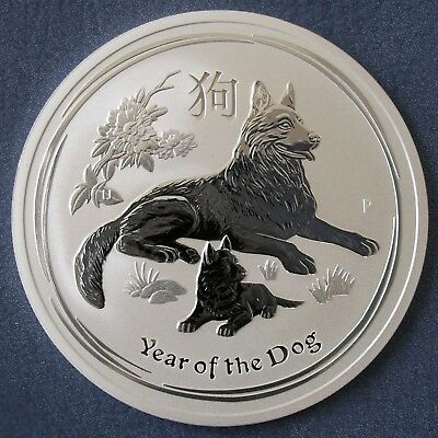 Perth Mint 2018 Lunar Year Of The Dog 2 oz Two Ounce 99.9% Silver Bullion Coin