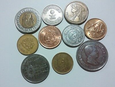 Middle East 10 different coins Lot Kuwait, Morocco, Qatar & more 1987 - 2010