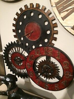 """New Large 35"""" Antiqued Metal Wall Clock Collage Three Clocks Gear Style Vintage"""