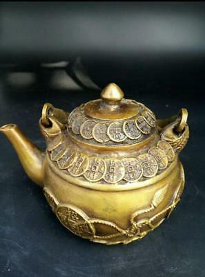 China Hand Carved Brass Antique Bronze Pot Money Makes A Fortune Ornaments