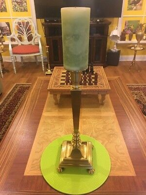 Vintage Heavy Solid Brass Church Altar Candle Holder 21.25'' tall 7 pounds