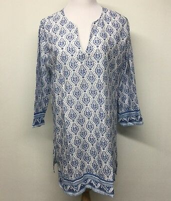 Rock flower paper womens sz l tunic cover up blue white v neck 34 rock flower paper womens sz l tunic cover up blue white v neck 34 mightylinksfo