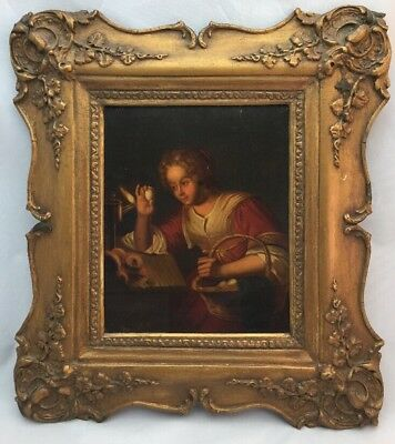 """Antique Dutch Old Master Oil Painting """"Checking Eggs"""" on Tin"""