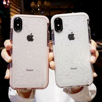 Luxury Crystal Soft Silicone TPU Clear Back Case Cover For iPhone X 8 6s 7 Plus