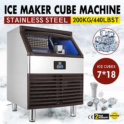Ice Cube Making Machine 440lb/24h Commercial Ice Cube Maker 126 pcs Stainless