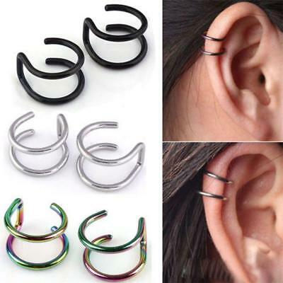 No piercing-Clip Ear Cuff Stud Women's Punk Wrap Cartilage Earring Jewelry