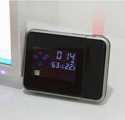 LED Backlight Alarm Clock Digital Weather Color Display LCD Snooze Projection