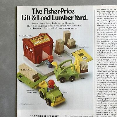 Fisher Price Lift and Load Lumber Yard Toy Vintage 1979 Photo Print Magazine Ad