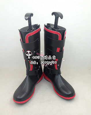 Fullmetal Alchemist Edward Elric Black Leather Cosplay Shoes Boots X002