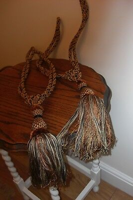 Pair Of Large Vintage Style Luxury  Tassel Curtain Tie Backs