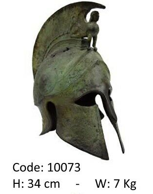 Ancient Greek Bronze Helmet With Sphinx On The Crest Real Size Museum Replica