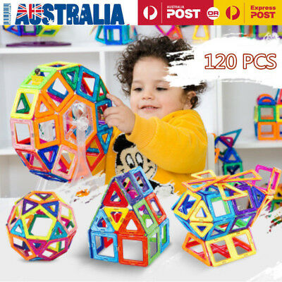 120Piece Kids Magnetic Blocks Building Toys For Boys Girls Magnet Tiles Kits LOT