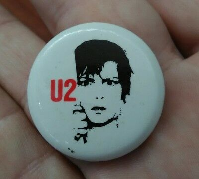 VERY RARE Vintage 1980 U2 The Edge Pin Large Size Inch & 1/4