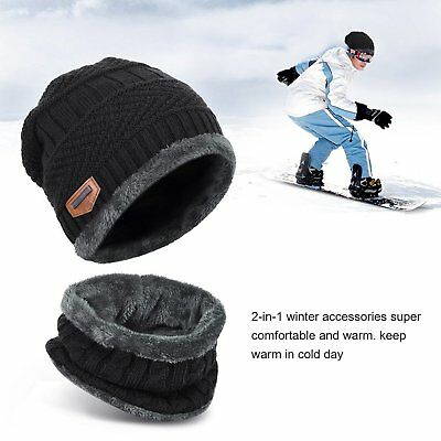 Fashion Men'sWomen Winter Ski Beanie Hat and Scarf Warm Knit Cap and Scarf