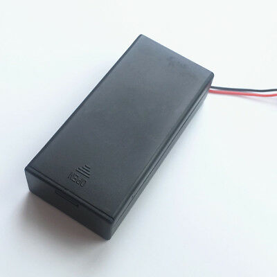 1 Pcs 2 x 18650 Battery Holder Box DC Case with Wire Lead Cover Switch ON/OFF