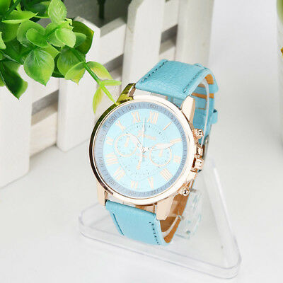 Fashion Women's Roman Casual Numerals Faux Leather Analog Quartz Round Watch