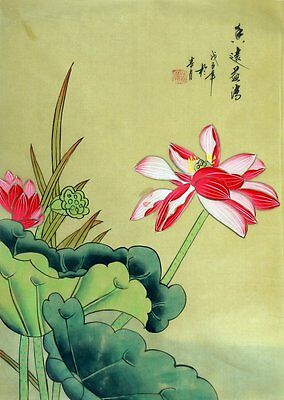 """Chinese silk painting lotus birds flowers 15x11"""" traditional watercolor art"""