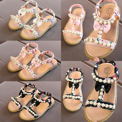 Kids Girls Summer Holiday Floral Sandals Infant Princess Slip On Flat Shoes Size