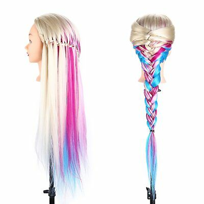"Colorful Hair Style Mannequin Training Hairdressing Salon Doll + Clamp 22""-26"""