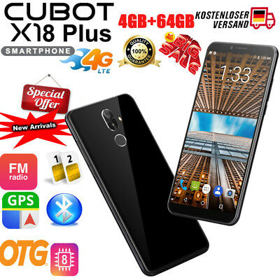Cubot X18 Plus 4G Handy Ohne Vertrag Smartphone Android 8.0 Octa core 64GB 16MP