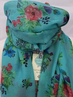Wild Poppy Teal Blue Turquoise Scarf Quirky Flower Gift Mum Sister Friend Summer