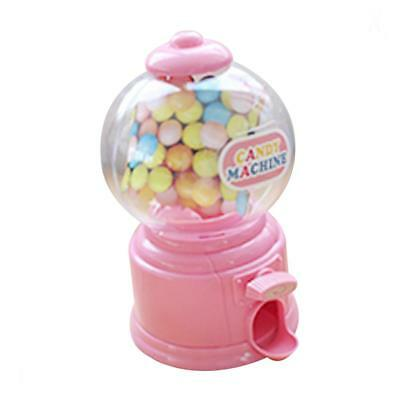 Mini Candy Dispenser Machine Gumball Snacks Storage Box Kids Coin Bank Pink