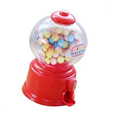 Mini Candy Dispenser Machine Gumball Snacks Storage Box Kids Coin Bank Red