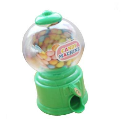 Mini Candy Dispenser Machine Gumball Snacks Storage Box Kids Coin Bank Green