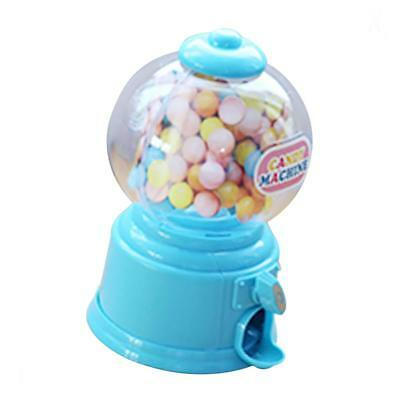 Mini Candy Dispenser Machine Gumball Snacks Storage Box Kids Coin Bank Blue