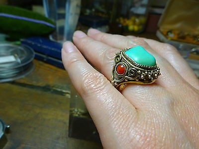 Vtg Chinese Export silver gilt Filigree Adjustable Ring with Coral & Turquoise