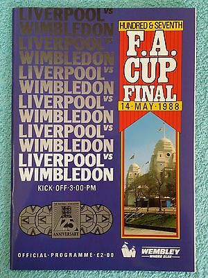 1988 - FA CUP FINAL PROGRAMME - LIVERPOOL v WIMBLEDON - V.G CONDITION